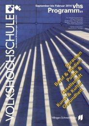 vhs Programm Nr. 81 / Herbst 2013 - Villingen-Schwenningen
