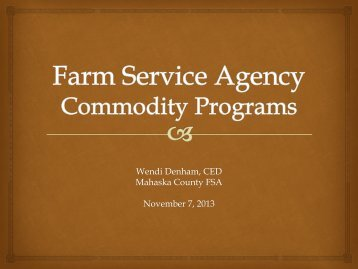 Farm Service Agency Commodity Programs