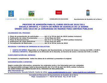 proceso de admisión para el curso escolar 2010/2011 escuela ...