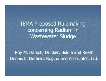 IEMA Proposed Rulemaking concerning Radium in Wastewater ...