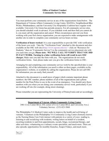 Community Service - University of Pennsylvania