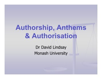 Authorship, Anthems & Authorisation