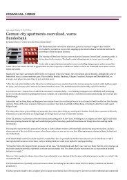 German city apartments overvalued, warns Bundesbank - CCOO