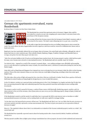 German city apartments overvalued, warns Bundesbank - CCOO
