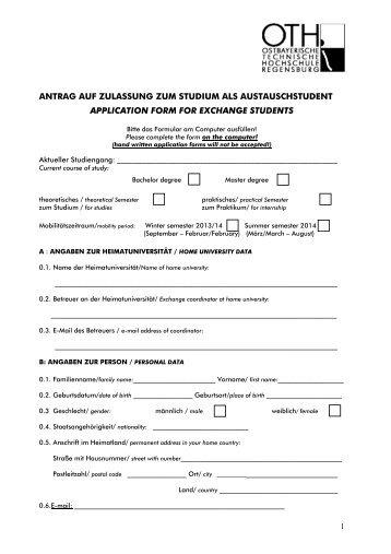 antrag auf zulassung zum studium als ... - OTH Regensburg
