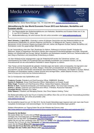 Akkreditierung für das World Economic Forum 2012 zum Nahosten ...