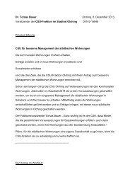 Die Presseärklärung der CSU Fraktion