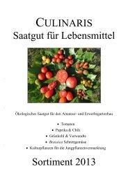 CULINARIS Saatgut für Lebensmittel Sortiment 2013