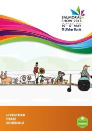 LIVESTOCK PRIZE SCHEDULE - Balmoral Show