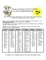Keep your brain CALCULATING over the SUMMER BREAK!