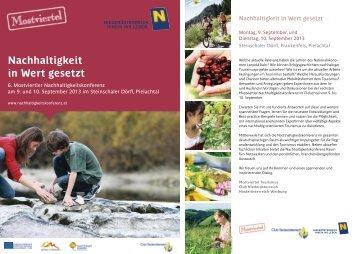 Programm downloaden! - Mostviertler Nachhaltigkeitskonferenz