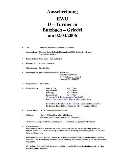 Ausschreibung EWU D – Turnier in Butzbach – Griedel am 02.04.2006