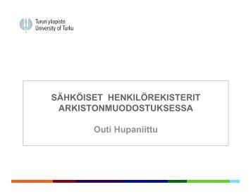 Sähköiset henkilörekisterit arkistonmuodostuksessa - Arkistolaitos