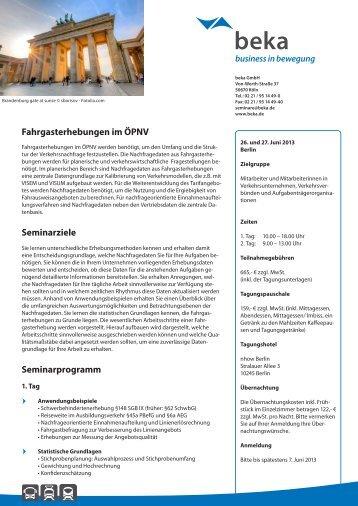 Fahrgasterhebungen im ÖPNV Seminarziele ... - newstix