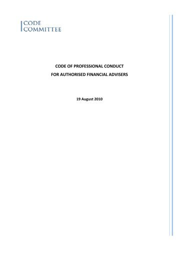 Draft Code of professional conduct for authorised financial advisers