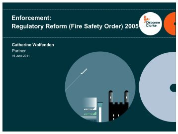 Enforcement: Regulatory Reform (Fire Safety Order) 2005