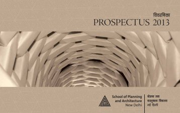 PROSPECTUS 2013 - School of Planning and Architecture