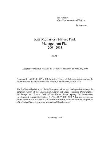 Rila Monastery Nature Park Management Plan - part - usaid