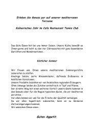 Speisekarte - Cafe Restaurant am Tennisplatz