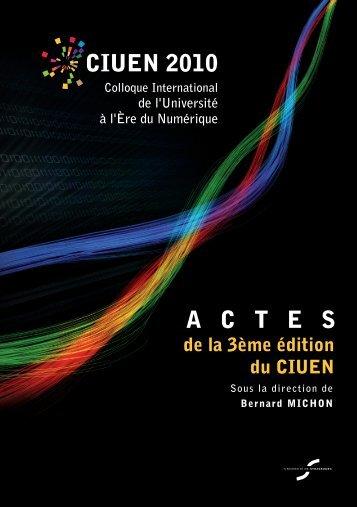 Actes du CIUEN 2010 - Services numériques - Université de ...