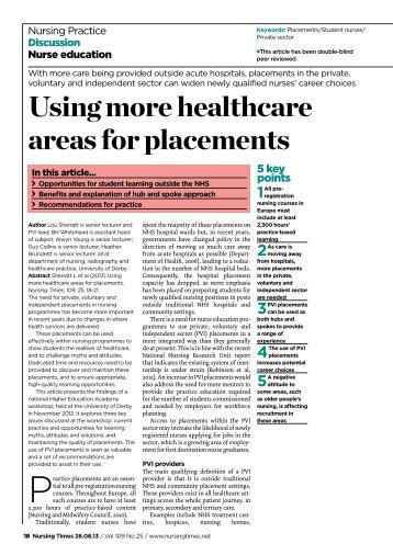 260613 Using more healthcare areas for placements - Nursing Times