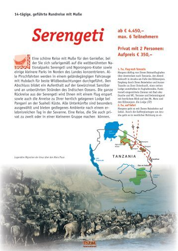 """Gruppenreise """"Serengeti"""" nach Tansania (PDF-Datei)"""