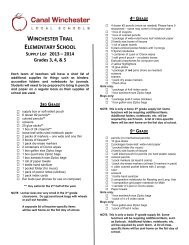 WT 2013-14 Supply List 3rd, 4th, 5th - Canal Winchester Schools