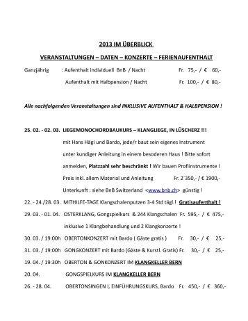 2013 im überblick veranstaltungen – daten – konzerte - Tessiner ...