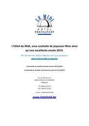 service traiteur - Hotel Le Midi