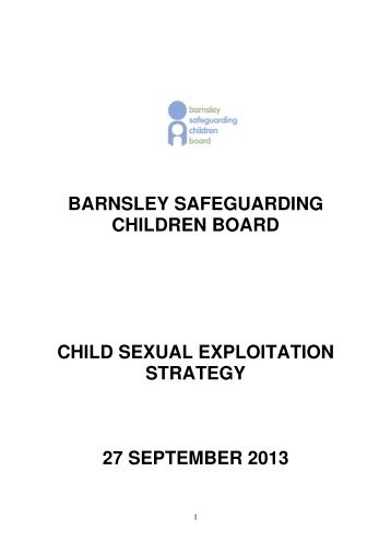 Child Sexual Exploitation Strategy - Barnsley Safeguarding Children ...