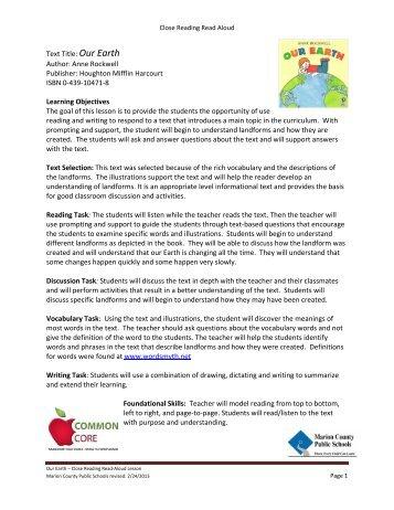Kindergarten Close Read: Our Earth - Okaloosa County School District
