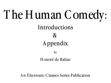 The Human Comedy: Introductions & Appendix - Penn State University