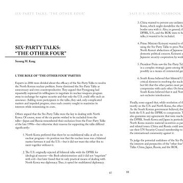 "SIXPARTY TALKS: ""THE OTHER FOUR"" - US-Korea Institute at SAIS"