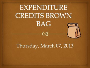 EXPENDITURE CREDITS BROWN BAG - University of Virginia