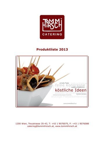 Produktliste 2013 - Tommi Hirsch Catering