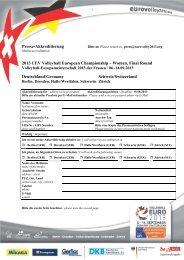 Presse-Akkreditierung 2013 CEV Volleyball European Championship