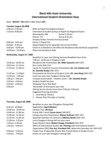 Black Hills State University International Student Orientation Days