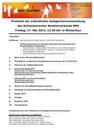 Protokoll der ordentlichen Delegiertenversammlung des ... - SMV