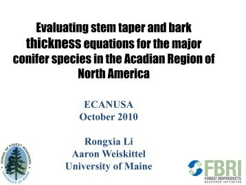 Evaluating stem taper and bark thickness equations for the major ...