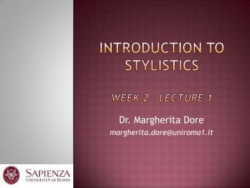 Introduction to Stylistics Week 2.pdf - Lettere e Filosofia