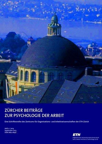 Zürcher Beiträge zur Psychologie der Arbeit - PdA - ETH Zürich