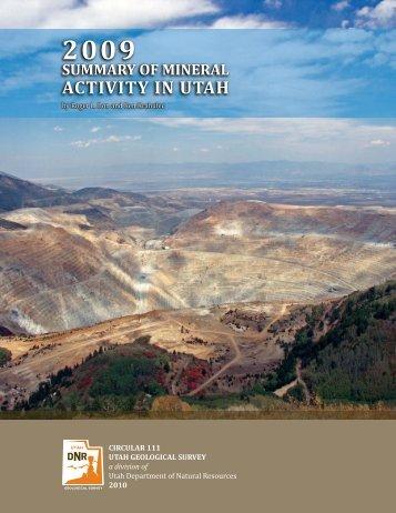2009 Summary of Mineral Activity in Utah - Utah Geological Survey ...