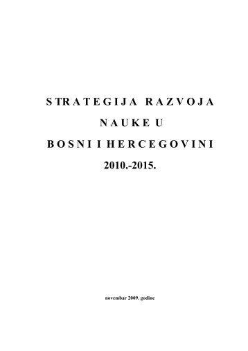 Strategija razvoja nauke u BiH 2010.- 2015. - Univerzitet u Zenici