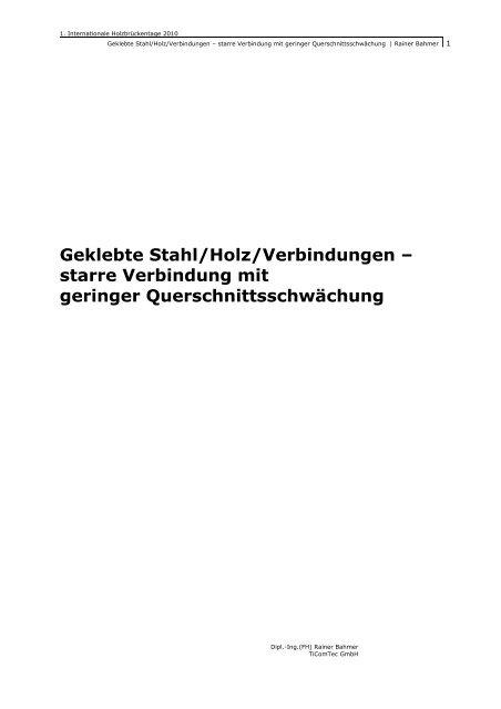 Geklebte Stahlholzverbindungen Starre Rainer Bahmer