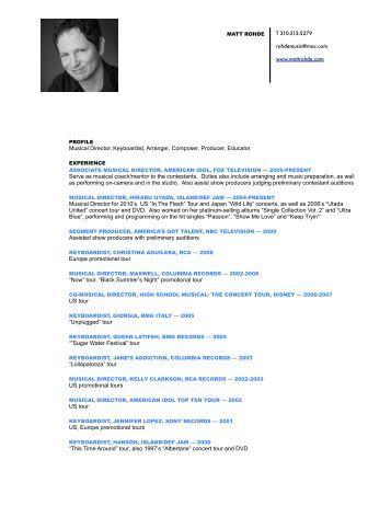 Musical Director, Keyboardist, Arranger, Composer ... - Matt Rohde