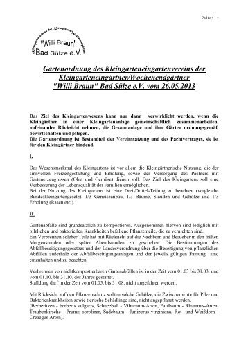 """Gartenordnung - Kleingartenverein """"Willi Braun"""""""