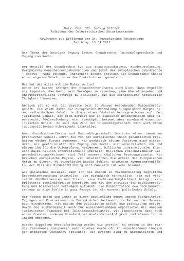 Begrüßung - Österreichische Notariatskammer