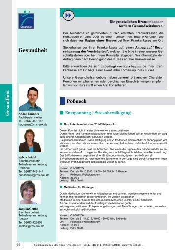 Gesundheit - Volkshochschule des Saale-Orla-Kreises