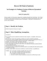 Discrete SIR Model of Epidemics An Example of a Nonlinear System ...