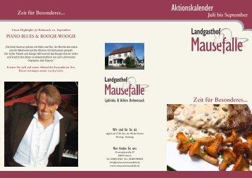 Aktionskalender - Restaurant Mausefalle